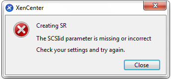 The SCSIid parameter is missing or incorrect